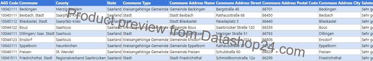 Preview of the dataset List of mayors of cities and towns in Saarland